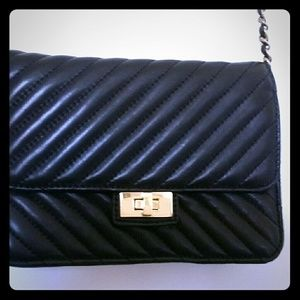 Saks Fifth Avenue Black lather bag